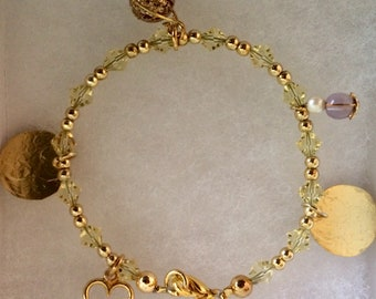 Cute Charm Bracelet which includes one Amethyst Charm~