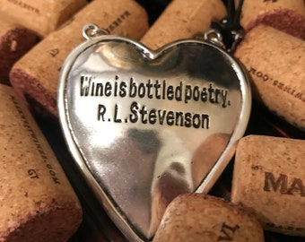 "Wine necklace !""wine is bottled poetry R.L.Stevenson"""