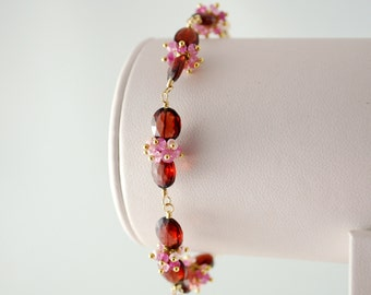 Pink and Red Garnet Bracelet, Bridal Jewelry, Genuine Ruby Gemstone, Luxe Gold Jewelry, Valentines Day Gift - In Love - Free Shipping