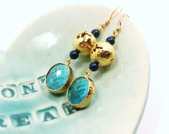 Green Blue Crystal Filigree Earrings Sparkling Aquamarine Blue Zircon Matte Brushed Gold Birdhouse Bird Globe Pierced Faceted Beaded Dangle