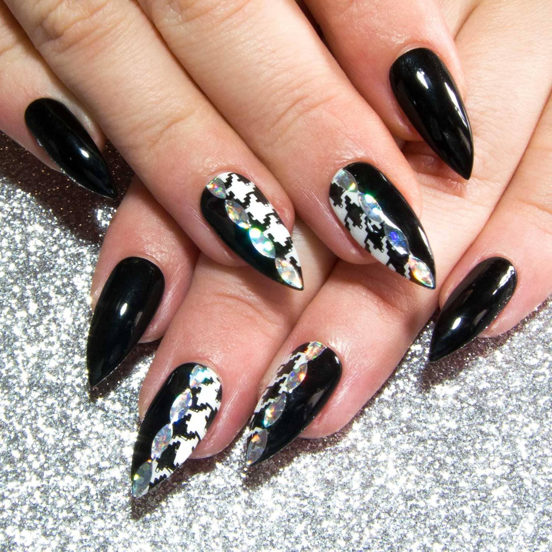 Stiletto Fake Nägel schwarz falsche Nägel gestaltete
