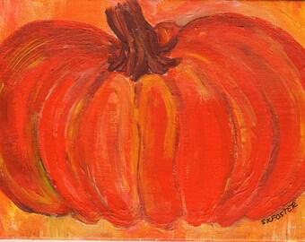 Thanksgiving Pumpkin acrylic painting, 4 x 6 hand painted canvas panel,  Autumn art - great Fall decor, original painting of pumpkin