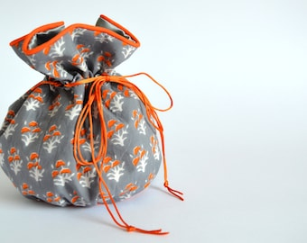 Orange and Grey Drawstring Pouch, Small Pouch, Drawstring Bag, Vintage Style patterned fabric