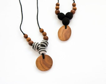 Petite Trio Nursing Necklace - Monochrome, Apple Wood - Teething Necklace, New Mom Necklace, New Baby Gift - NT14, NT15
