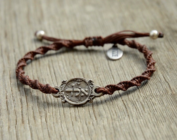 72 Names of God Charm for Protection in Sterling Silver on a Brown Twisted Adjustable Bracelet