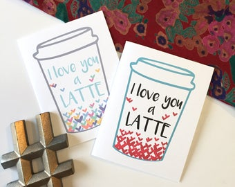 Coffee Card, Love You Card, I Love You a Latte, Coffee Gifts, Card for Boyfriend, Card for Girlfriend, Punny Love Card, Coffee Gift Card