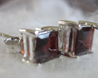 Sparkling Red Garnet Silver Stud Earrings