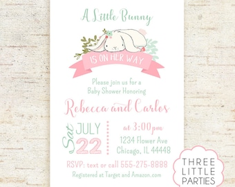 Bunny Baby Shower Invitation, Girl Baby Shower Invitation, Boy Printable Rabbit Baby Shower, Invitacion Conejito,  Invitacion Conejita