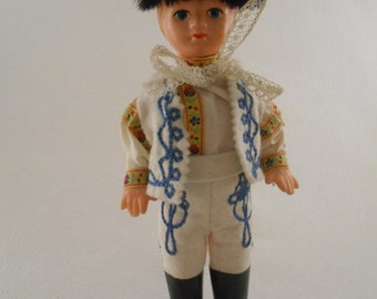 Vintage Slavic Boy Doll with Traditional Costume