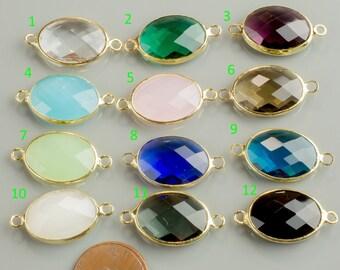 Gold Bezel Crystal Oval Connector 14X18MM 2 pcs per order