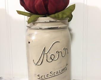 Painted quart mason jar, rustic home decor, rustic wedding decor, farmhouse painted mason jars
