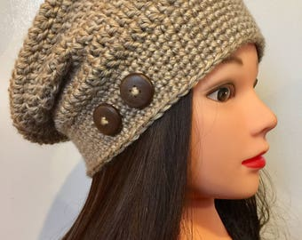 Soft Tan/Beige Slouch Hat - Beanie - Crocheted with Buttons