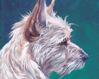 Portuguese Podengo Pequenos dog portrait CANVAS art print of LA Shepard painting 12x12
