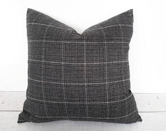 Gray Plaid Pillows, Grey Black Pillow, Plaid Pillow Covers, Charcoal Pillows, Grey Throw Pillow, Dark Grey Pillow, Pillow Throw Decor, 18x18