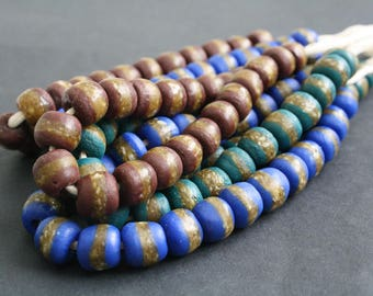 African Beads, Recycled Glass from Ghana's Krobo, Round 11 mm, One Strand of 22 - 23