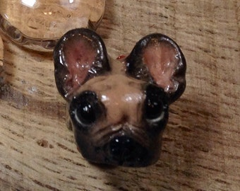 French BullDog European Bead Handmade Charm Fawn and Black for Large Hole Bracelets