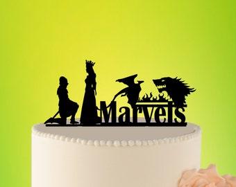 Game of Throns Wedding Cake Topper, Stark  Cake Topper Targaryen wedding cake topper, Game of Throns Topper, Dragon Wedding Topper L2-01-002