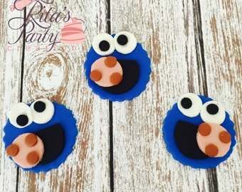 12 Sesame Street Cookie Monster Fondant Edible Cupcake Toppers Birthday Baby Shower
