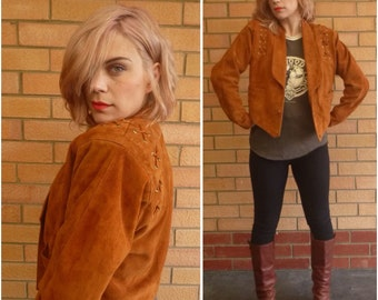Vintage Gypsy Jacket - Leather Jacket For Her - Hippie Boho Clothes - Gypsy Suede Coat - Bohemian Leather Jacket - Cropped Jacket