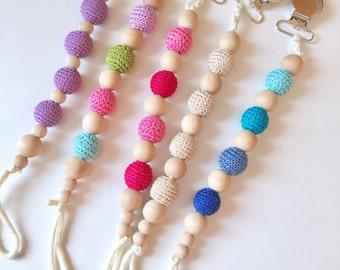 Crochet & Wooden Bead Pacifier Holder