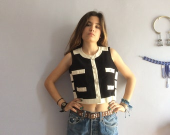 Moschino Cheap and Chic crop top velcro vintage Moschino Cheap & Chic vest vtg cropped top black and white 90s Moschino vtg top