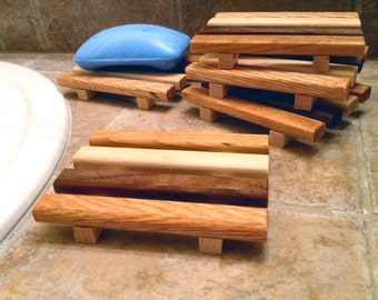 25 to 40 Standard reclaimed wood soap dishes - made of a wide variety of reclaimed wood types