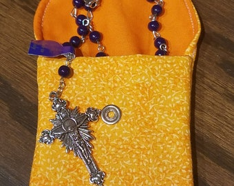Rosary / Coin Fabric Purse with Metal Snap Closure - Marbled Orange and Small Yellow Flowers with Orange Interior