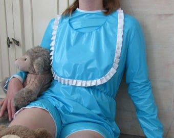 Adult Baby PVC Romper Suit, Lockable Mitts & BiB. Various colours