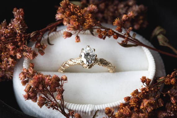 Oval moissanite gold leaf engagement ring, vintage style engagement ring, oval moissanite ring, leaf engagement ring, nature engagement ring