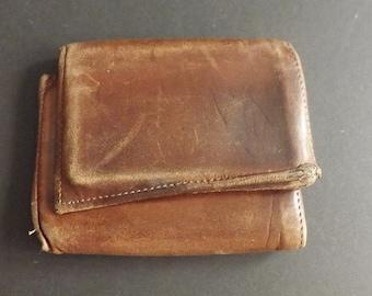 Mens' Vintage Leather Trifold Billfold Wallet, Vintage Wallet, Vintage Billford