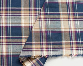 Purple Navy Plaid Cotton Fabric, Yarn Dyed, Washing - By the Yard 95576