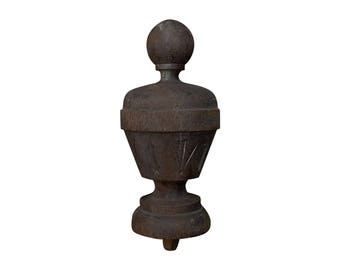 Large Late 19th Century Primitive Hand Carved Wooden Finial