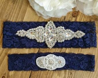 SALE - Wedding Garter Set - Rhinestone & Pearl Garter Set on Navy Blue Lace - Style G10060