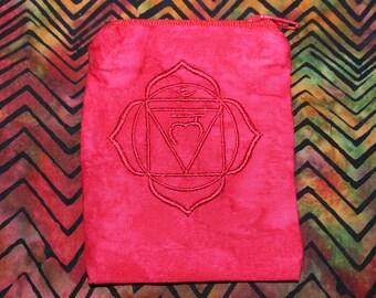 Root Chakra Mojo Bag - Root Chakra - Mojo Bag - Crystal Bag - Medicine Bag - Crystal Healing - Meditation - Chakras - Reiki - EMBROIDERED