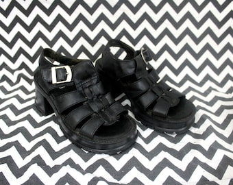 Black Strap Sandals With Chunky Heels. Womens Size 7 High Heel Open Toe Sandals. Cargo Brand Size 7 Leather Chunky Dress Club Shoes