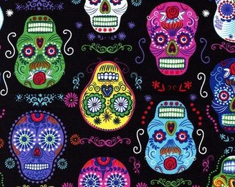 Skull fabric, patchwork fabric timeless treasures fabric