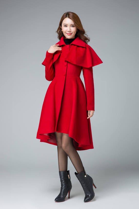 coat handmade low coat coat party high coats short coat cape coat swing outwear coat 1848 red coat coat coat romantic winter wxqUWY4O