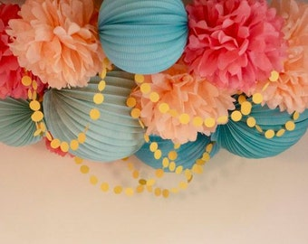 "Pompoms 9 ( 12""-6"") paper flower, flower balls, wedding decoration, decoration, paper flower poms, baby shower, engagement party decorations"