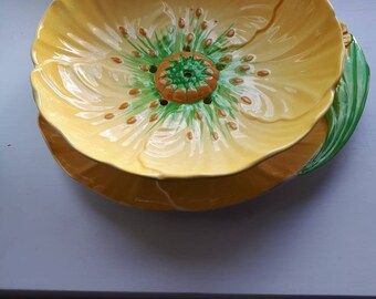 Carlton Ware Buttercup Strainer Dish and Plate, 1935-1940s