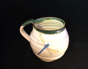 Pottery ceramic mug cup with dragonfly stoneware