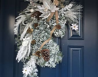 Christmas HorseHead wreath. Winter white horse wreath. Arab horse wreath. Andalusion wreath. Lusatano horse wreath. Super Deluxe
