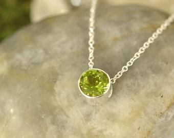 August Birthstone Necklace, Gemstone Pendant, Peridot Necklace, Green Gemstone, Birthstone Necklace, Birthstone Slide, Gemstone Slide