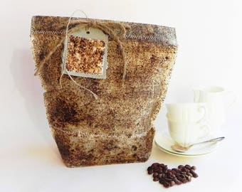 Coffee gift bag, coffee favors paper bag, brown paper gift wrap bag, coffee accessories, coffee lover gift