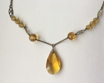 Vintage Art Deco Simulated Yellow Zircon Glass Necklace - Gold Tone 1930s Costume Jewelry