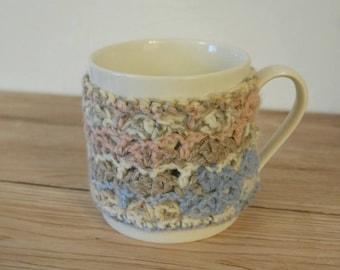 Crocheted Mug Cosy Kit Pink Blue Grey Mug Hug Kit Diy Gift Craft Kits For Adults Crochet Gift For Crafters Mug Cosy Crochet Kit DIY Kit