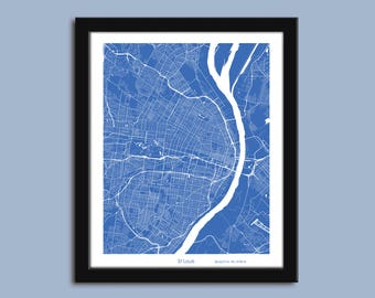 St. Louis map, St. Louis city map art, St. Louis wall art poster, St. Louis decorative map