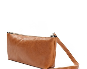 brown leather shoulder bag purse - shoulder purse - evening purse - brown leather clutch purse - leather clutch bag - Trapeze by KISIM