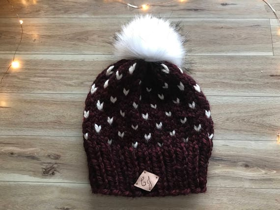 Fair Isle Knit Hat Pompom Beanie Faux fur Pom Toque Fair