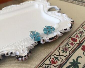 Candy Stud Earrings in Blue / Apatite Earrings / Stud Earring / Raw Gemstone Earrings / Sterling Silver Post Earrings