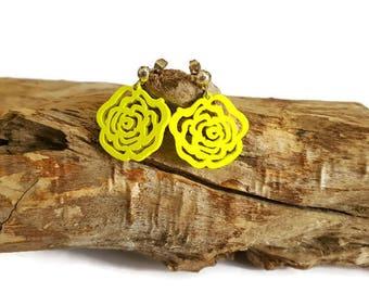 Bright yellow wood Flower Earrings